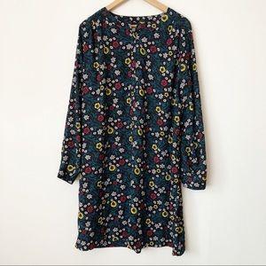 Loft Long Sleeve 1/2 Button Floral Shirt Dress